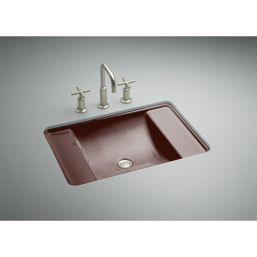 KOHLER Ledges Ember Cast Iron Undermount Rectangular Bathroom Sink with Overflow