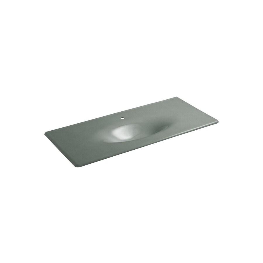 KOHLER Iron/Impressions Basalt Cast Iron Drop-in Oval Bathroom Sink