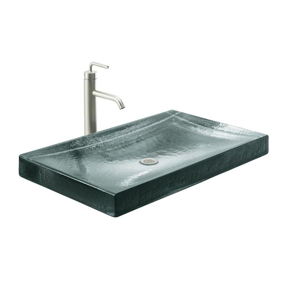 ... Kelston White Glass Vessel Rectangular Bathroom Sink at Lowes.com