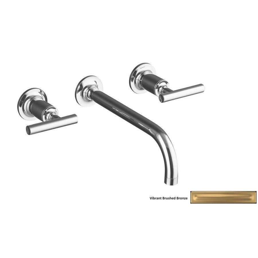 Kohler purist vibrant brushed bronze 2 handle widespread - Kohler two tone bathroom faucets ...