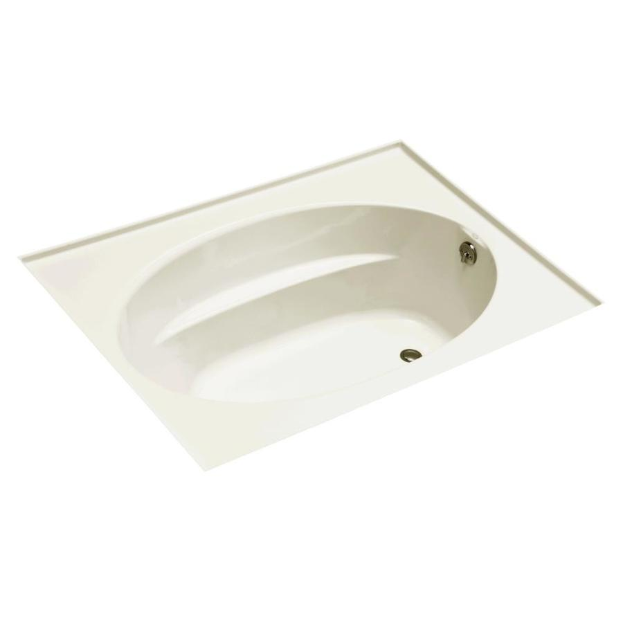 KOHLER Windward 60-in Biscuit Acrylic Drop-In Air Bath with Right-Hand Drain