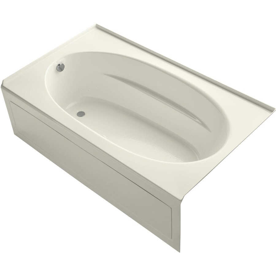 KOHLER Sunward 72-in Biscuit Acrylic Alcove Air Bath with Left-Hand Drain