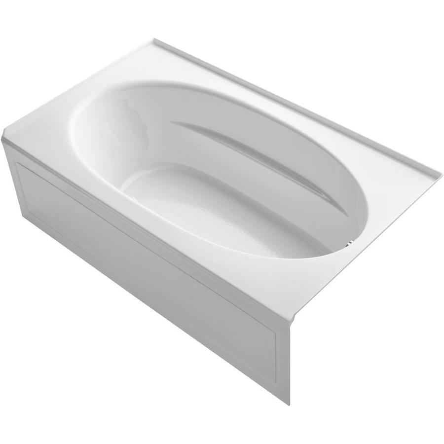 KOHLER Sunward 72-in White Acrylic Alcove Air Bath with Right-Hand Drain