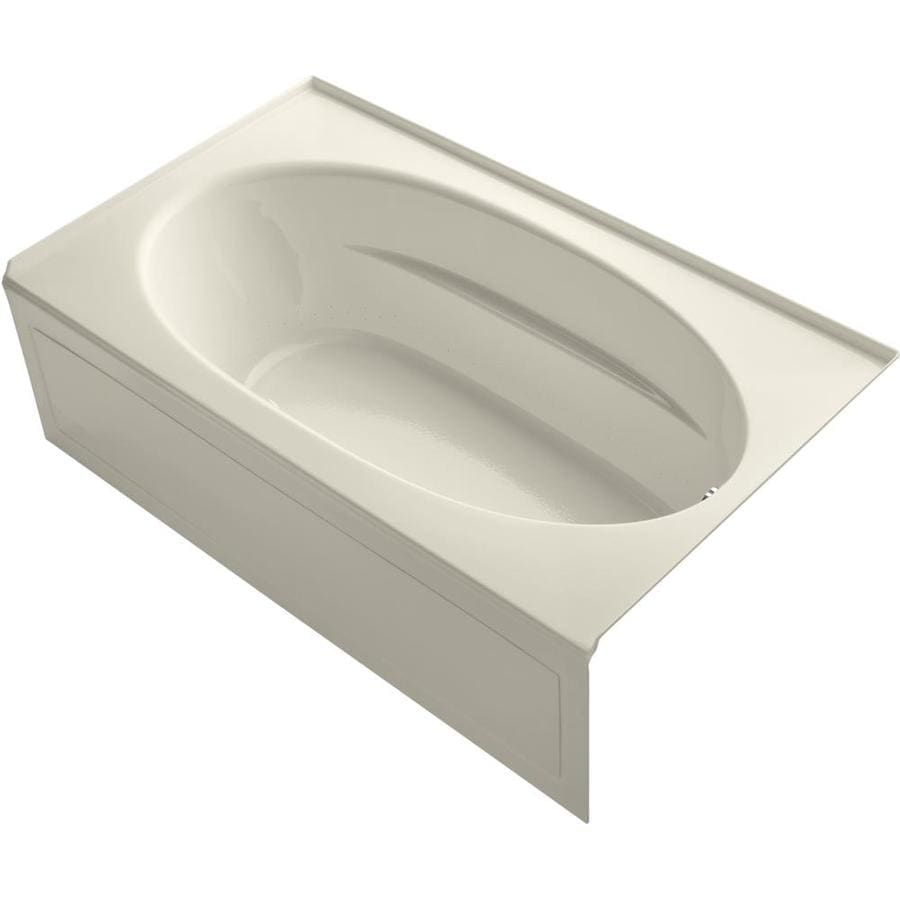 KOHLER Sunward 72-in Almond Acrylic Skirted Air Bath with Right-Hand Drain