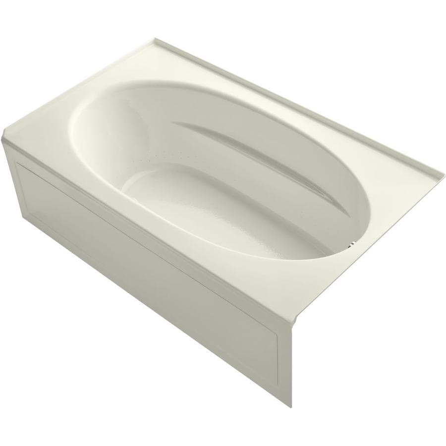 KOHLER Sunward 72-in Biscuit Acrylic Skirted Air Bath with Right-Hand Drain