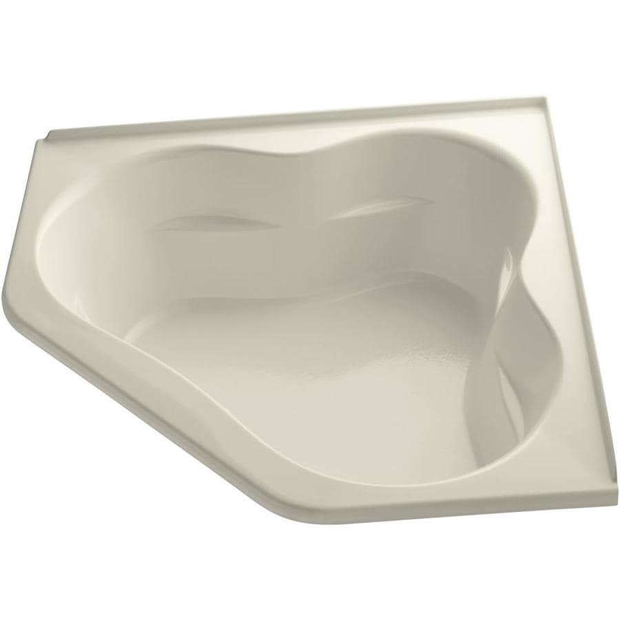 KOHLER Tercet 60-in Almond Acrylic Alcove Air Bath with Center Drain