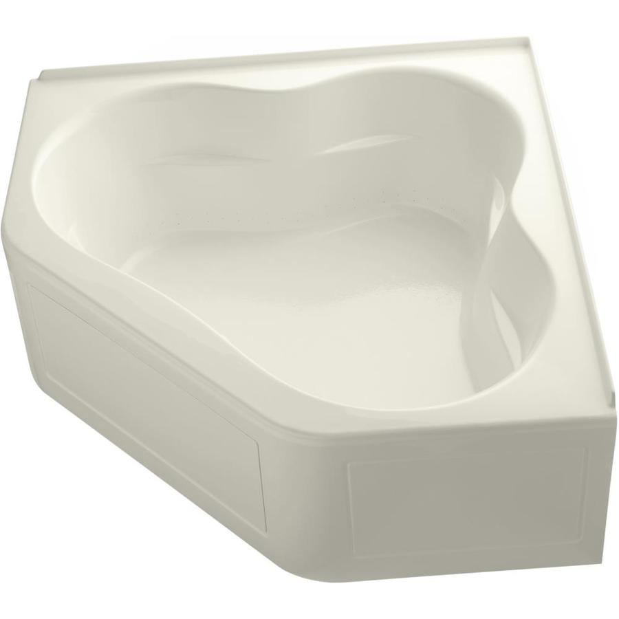 KOHLER Tercet 60-in Biscuit Acrylic Alcove Air Bath with Center Drain