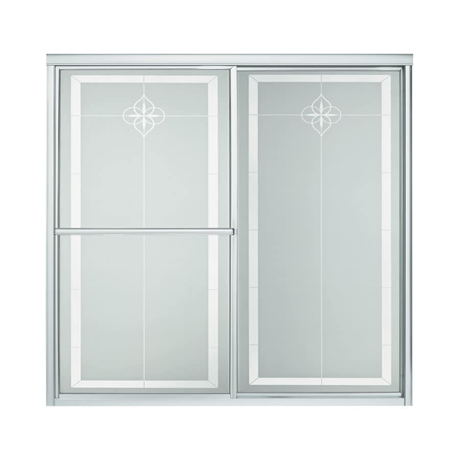 Sterling 59.38-in W x 56.25-in H Silver Bathtub Door