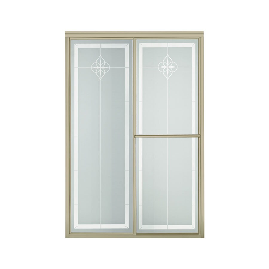 Sterling Deluxe 54.375-in to 59.375-in W x 70-in H Brushed Nickel Sliding Shower Door