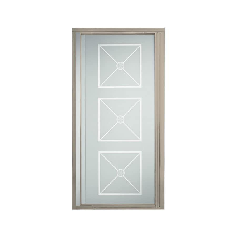 Sterling Vista Pivot II 31.25-in to 36-in W Framed Brushed Nickel Pivot Shower Door