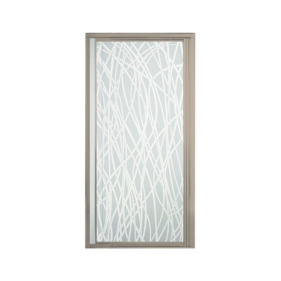 Sterling Vista Pivot II 31.25-in to 36-in W Framed Brushed Nickel Pivot Shower Door