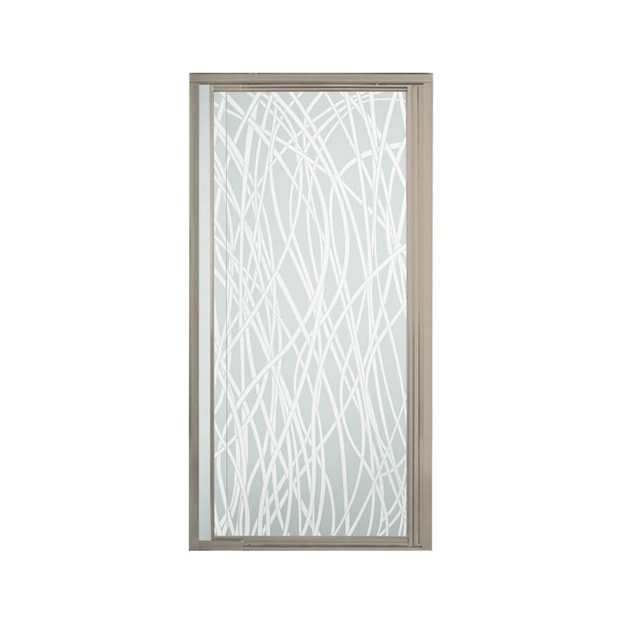 Sterling Vista Pivot II 36-in to 42-in W Framed Brushed Nickel Pivot Shower Door