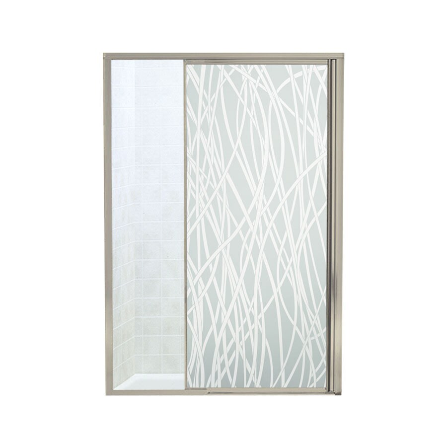 Sterling Vista Pivot II 42-in to 48-in W Framed Brushed Nickel Pivot Shower Door