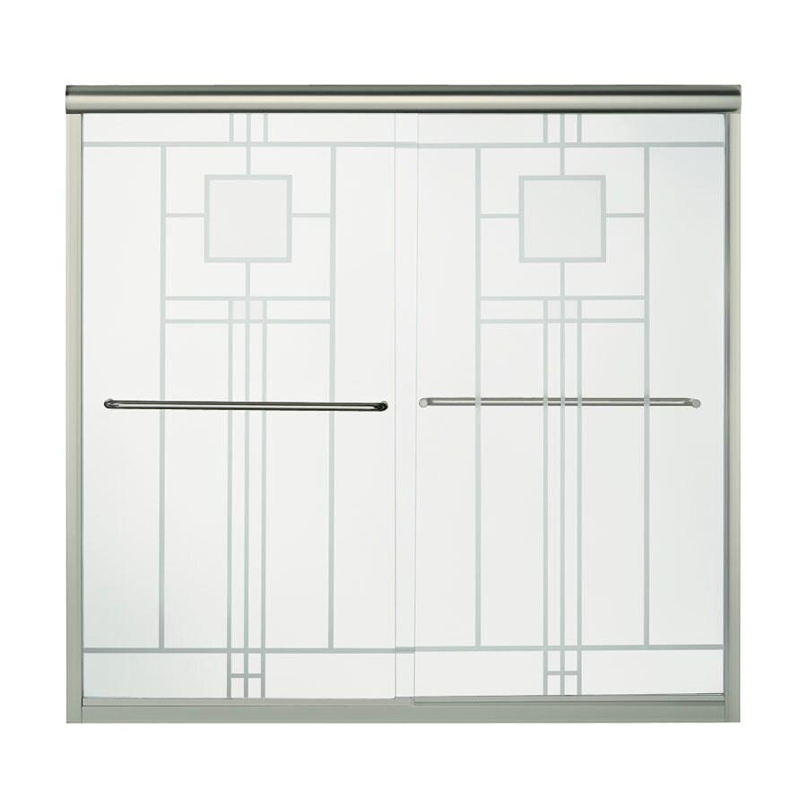 Sterling Finesse 59.625-in W x 53.0625-in H Brushed Nickel Bathtub Door