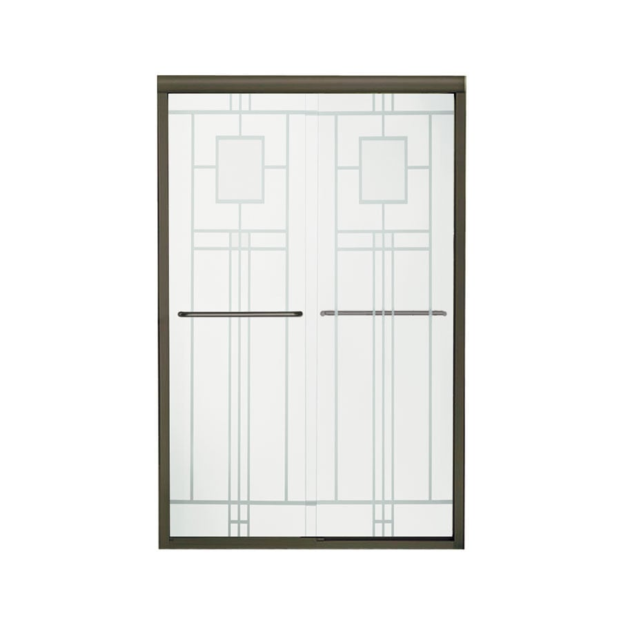 Sterling Finesse 42.6250-in to 47.6250-in Frameless Deep bronze Sliding Shower Door