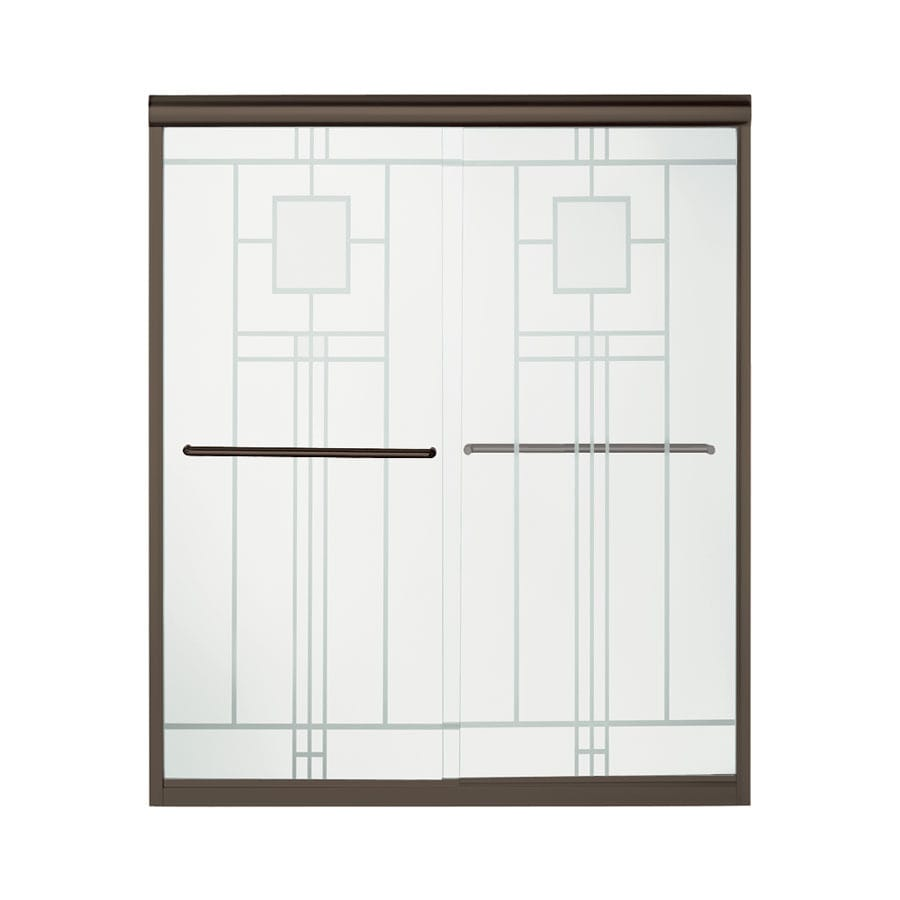 Sterling Finesse 54.625-in to 59.625-in W Frameless Deep Bronze Sliding Shower Door