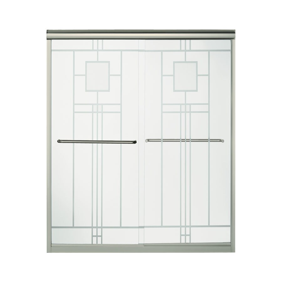 Sterling Finesse 54.625-in to 59.625-in Frameless Brushed nickel Sliding Shower Door