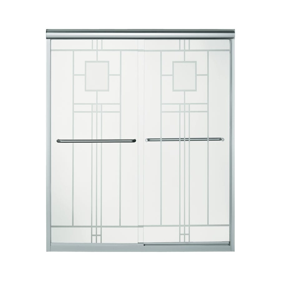 Sterling Finesse 54.625-in to 59.625-in Frameless Silver Sliding Shower Door
