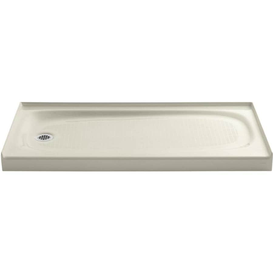KOHLER Salient Almond Cast Iron Shower Base (Common: 30-in W x 60-in L; Actual: 30-in W x 60-in L)