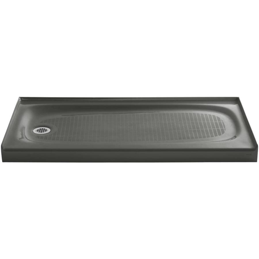 KOHLER Salient Thunder Grey Cast Iron Shower Base (Common: 30-in W x 60-in L; Actual: 30.0000-in W x 60.0000-in L)