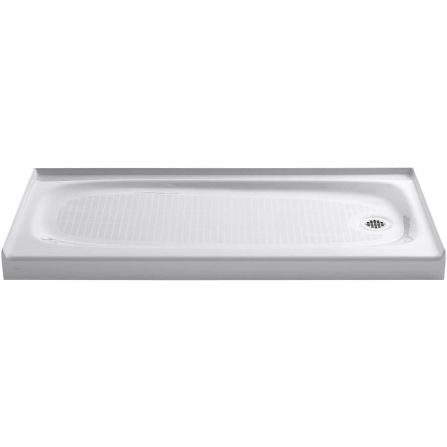 KOHLER Salient White Cast Iron Shower Base (Common: 30-in W x 60-in L; Actual: 30.0-in W x 60.0-in L)