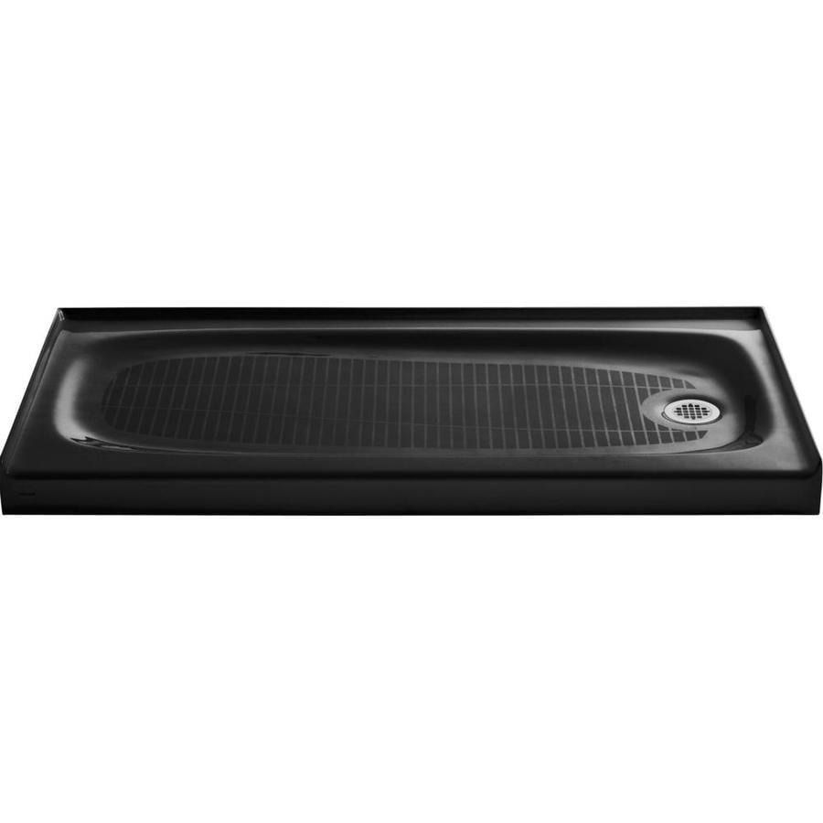 KOHLER Salient Black Cast Iron Shower Base (Common: 30-in W x 60-in L; Actual: 30-in W x 60-in L)
