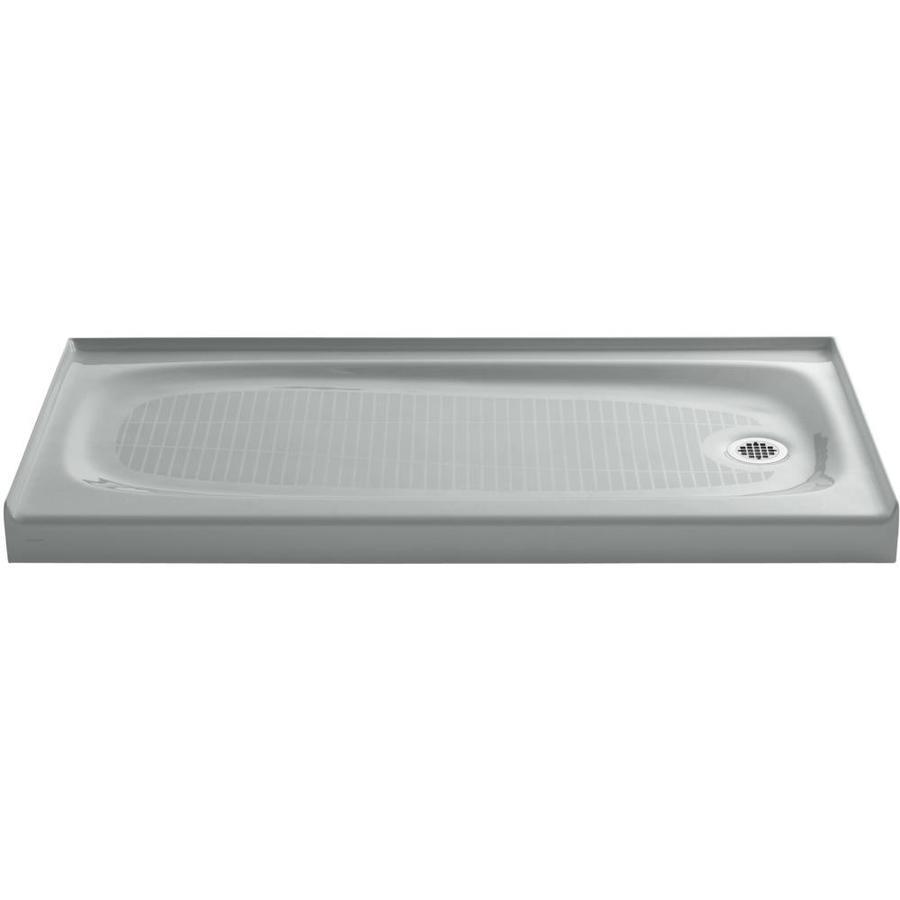 KOHLER Salient Ice Grey Cast Iron Shower Base (Common: 30-in W x 60-in L; Actual: 30.0000-in W x 60.0000-in L)