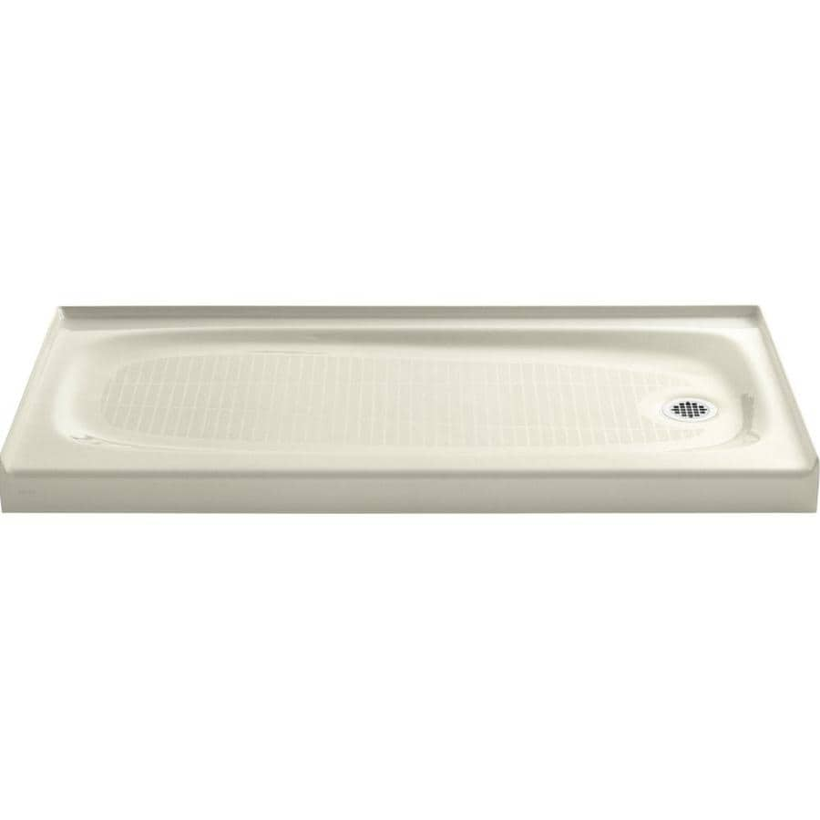 KOHLER Salient Cane Sugar Cast Iron Shower Base (Common: 30-in W x 60-in L; Actual: 30-in W x 60-in L) with Right Drain