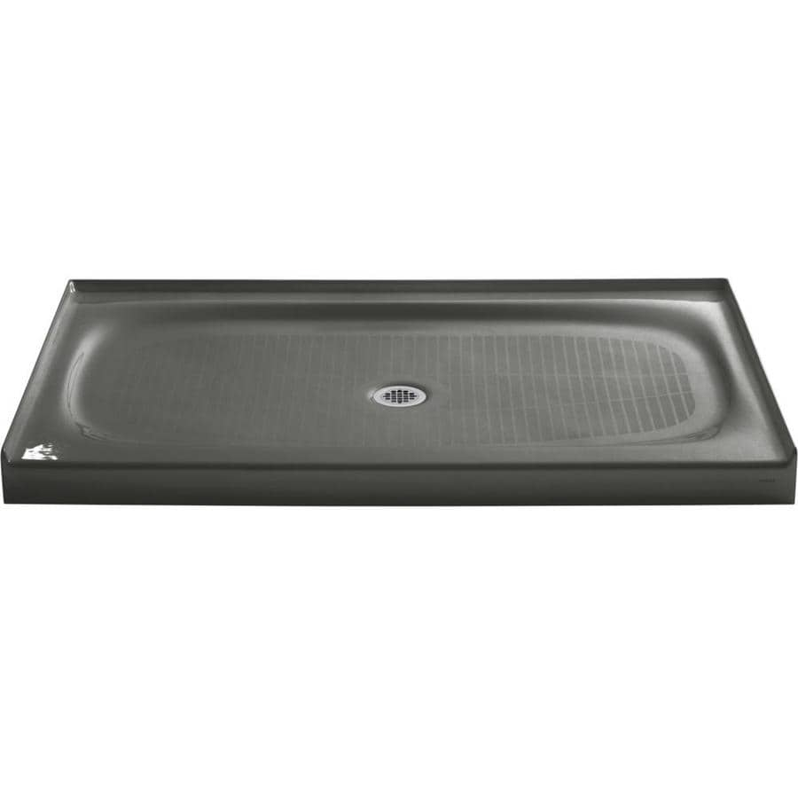 KOHLER Salient Thunder Grey Cast Iron Shower Base (Common: 36-in W x 60-in L; Actual: 36.0000-in W x 60.0000-in L)