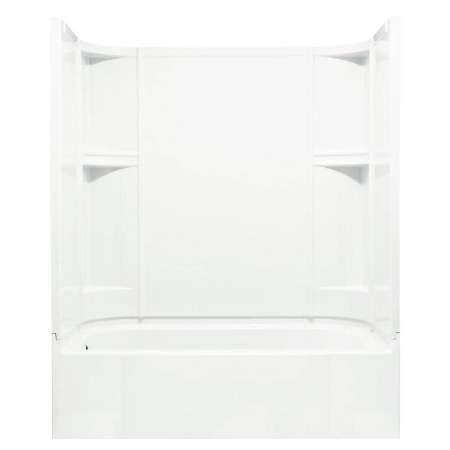 Sterling Accord White Vikrell Wall And Floor 4 Piece Alcove Shower Kit With  Bathtub (