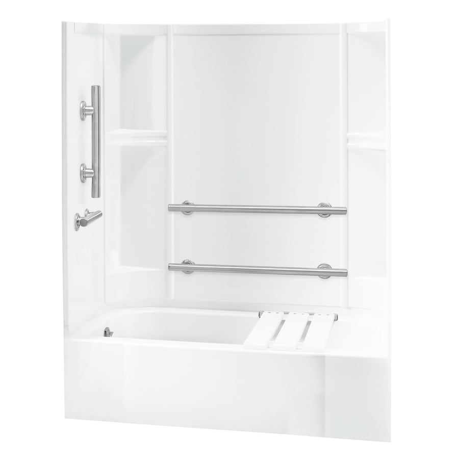 Sterling Accord White Wall Vikrell Floor 4-Piece Alcove Shower Kit (Common: 30-in x 60-in; Actual: 72-in x 30-in x 60-in)