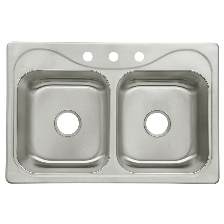 Sterling Southhaven 22-in x 33-in Satin Double-Basin Stainless Steel Drop-In 3-Hole Residential Kitchen Sink