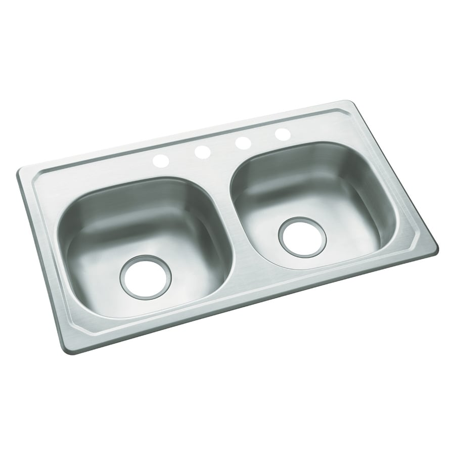 Kitchen Sink 19 X 33: Sterling 19-in X 33-in Satin Double-Basin Stainless Steel