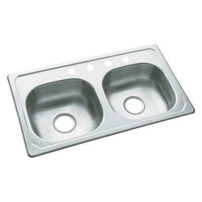 33-in x 19-in Satin Double-Basin Drop-In 4-Hole Residential Kitchen Sink