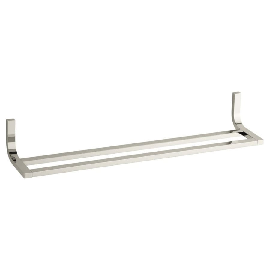 KOHLER Loure Vibrant Polished Nickel Double Towel Bar (Common: 24-in Double; Actual: 24.75-in)