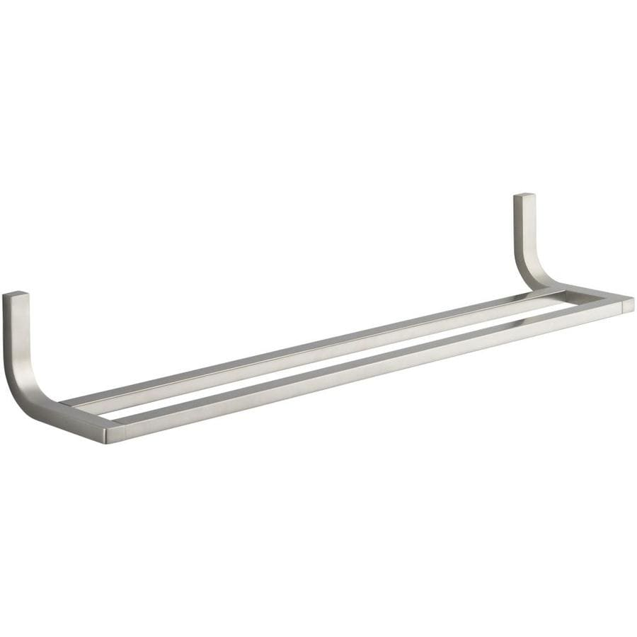 shop kohler loure vibrant brushed nickel double towel bar common 24