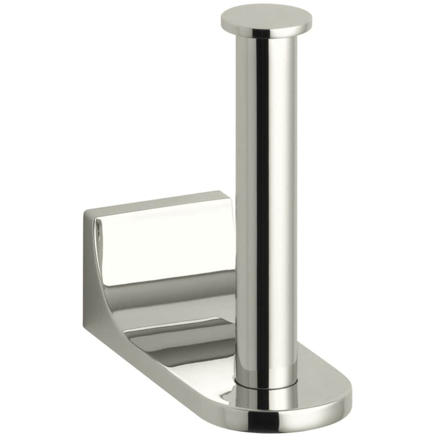 KOHLER Loure Vibrant Polished Nickel Surface Mount Single Post Toilet Paper Holder