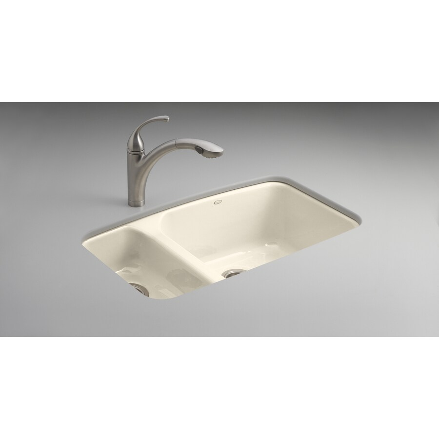 Beautiful KOHLER Lakefield Double Basin Undermount Enameled Cast Iron Kitchen Sink