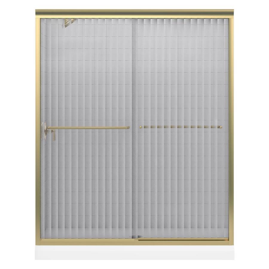 KOHLER Fluence 59.625-in W x 55.75-in H Brushed Bronze  Bathtub Door