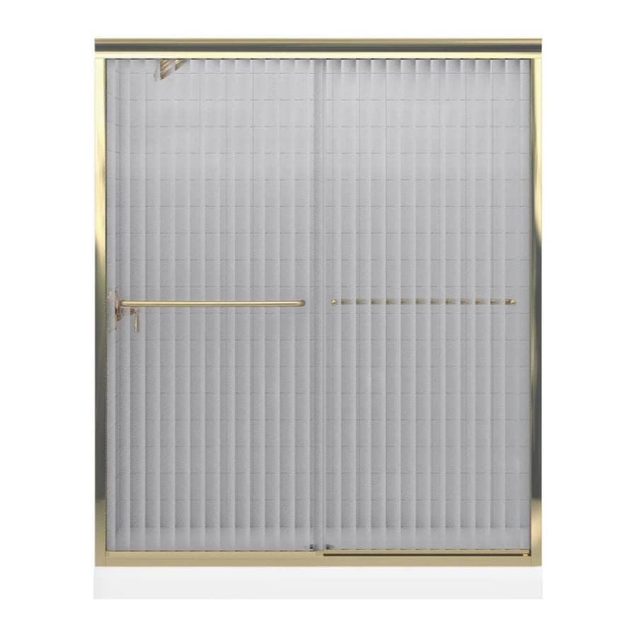 KOHLER Fluence 56.63-in to 59.63-in W Frameless Anodized Brushed Bronze Sliding Shower Door