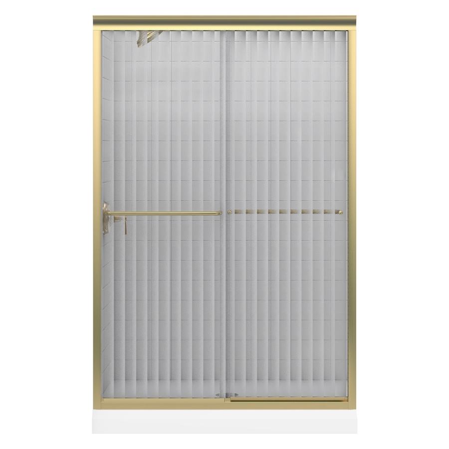 KOHLER Fluence 44.63-in to 47.63-in W Frameless Anodized Brushed Bronze Sliding Shower Door