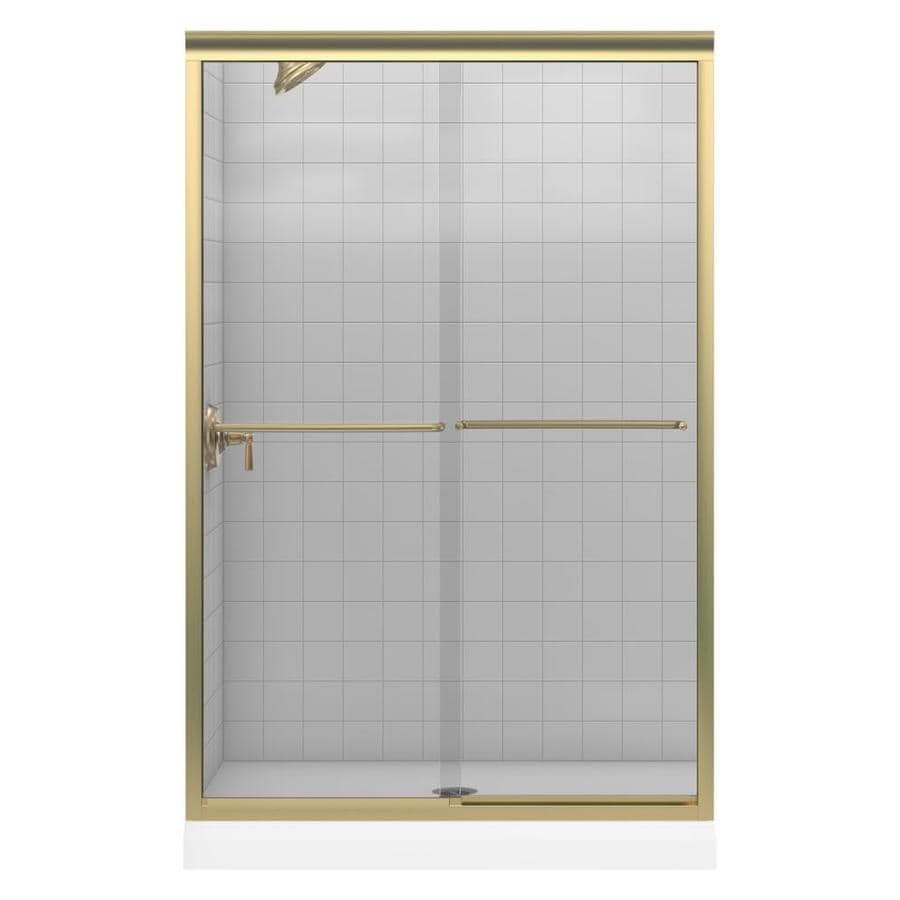 KOHLER Fluence 44-in to 47-in W x 70-in H Brushed Bronze Sliding Shower Door