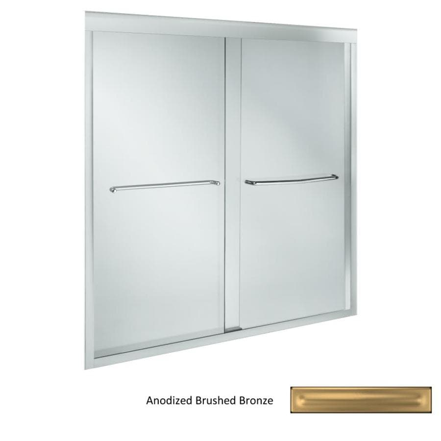 KOHLER Fluence 59.625-in W x 58.3125-in H Brushed Bronze Frameless Bathtub Door
