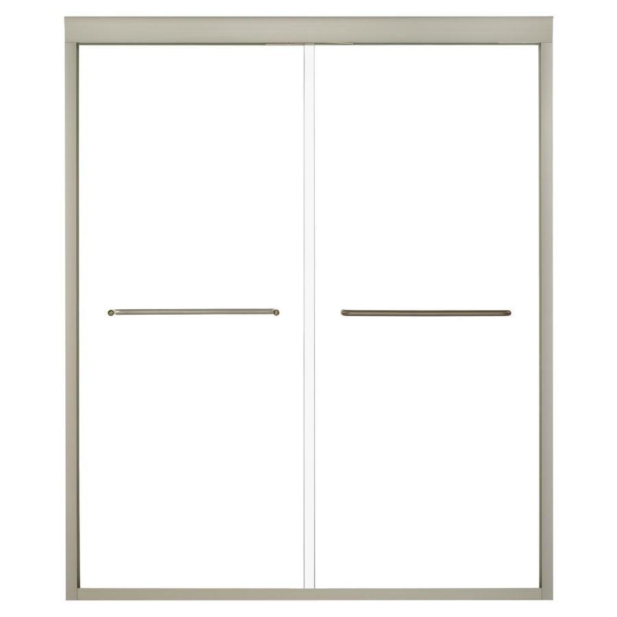KOHLER Fluence 56.625-in to 59.625-in W Frameless Anodized Brushed Bronze Sliding Shower Door