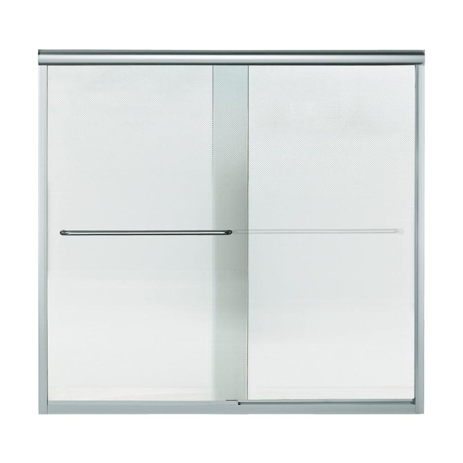 Sterling Finesse 59.25-in W x 58.75-in H Silver Bathtub Door