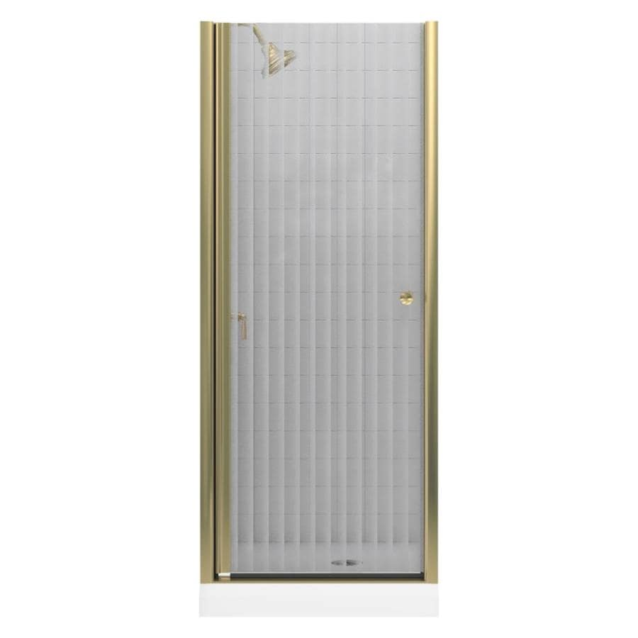 KOHLER Fluence 28.75-in to 30.25-in W Frameless Anodized Brushed Bronze Pivot Shower Door