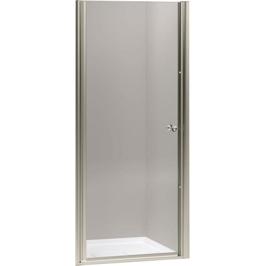 KOHLER Fluence 28.75-in to 30.25-in W Frameless Bright Polished Silver Pivot Shower Door