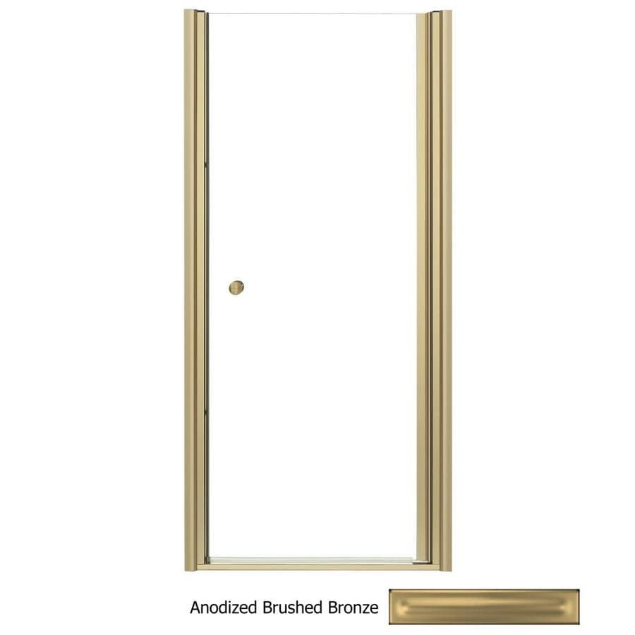 KOHLER Fluence 30-in to 31.5-in Frameless Anodized Brushed Bronze Pivot Shower Door