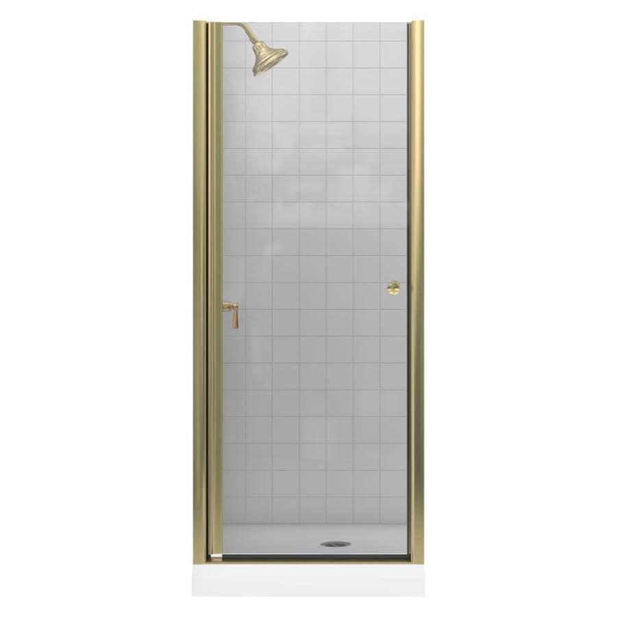 KOHLER Fluence 33.75-in to 35.25-in W Frameless Anodized Brushed Bronze Pivot Shower Door