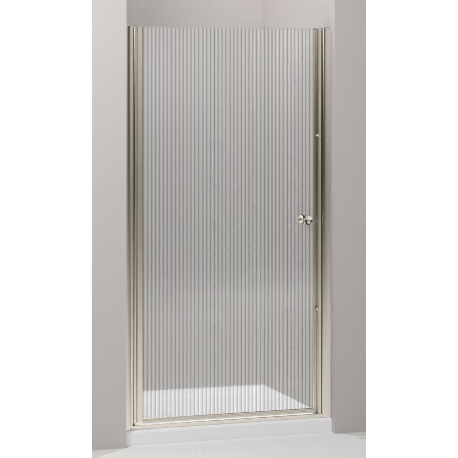 KOHLER Fluence 37.5-in to 39-in W Frameless Anodized Brushed Bronze Pivot Shower Door